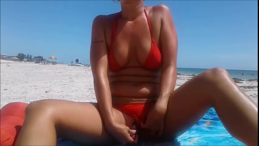 Orgasm on public beach!
