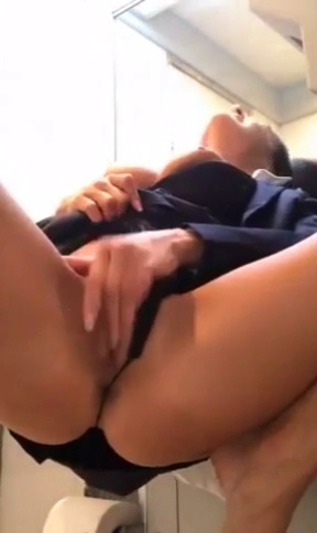 Stewardess airplane bathroom masturbation