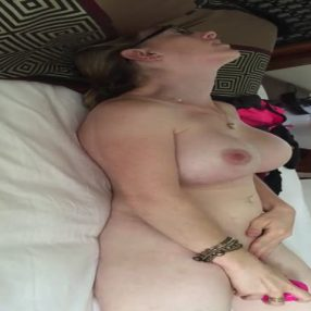 Hot busty MILF enjoys her toy