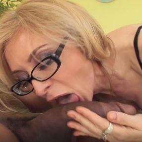 Blonde Nina Hartley gets fucked by a black cock