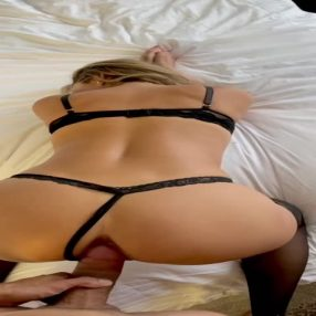 Take my wife from behind in sexy new black lace lingerie
