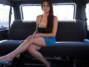 Busty Spanish babe fucked hard in a van