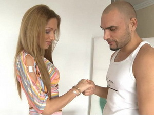 Busty Melanie Gold sucks Moisex's dick