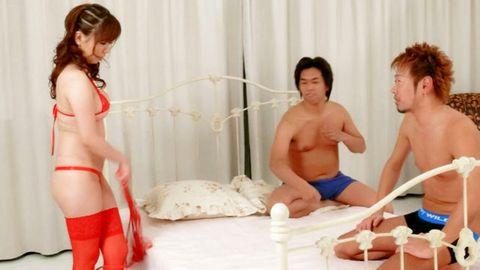 Aoi Mizumori lingerie babe goes wild on two tasty dongs