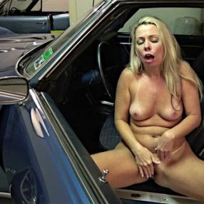 Blonde Wife Beth Car Fun