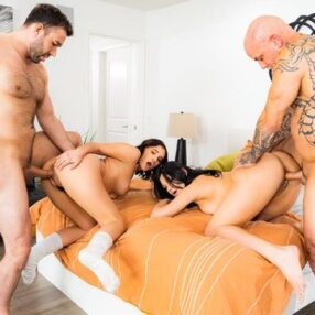 Pornstar Mona Azar and Violet Starr hot group sex